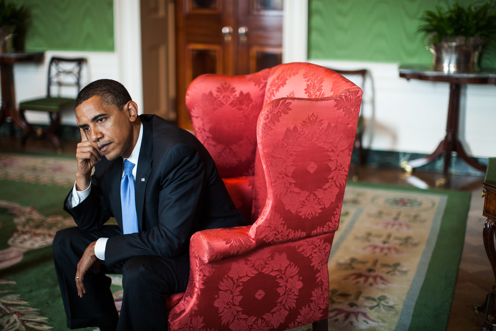 President Barack Obama is interviewed in the Green Room at The White House