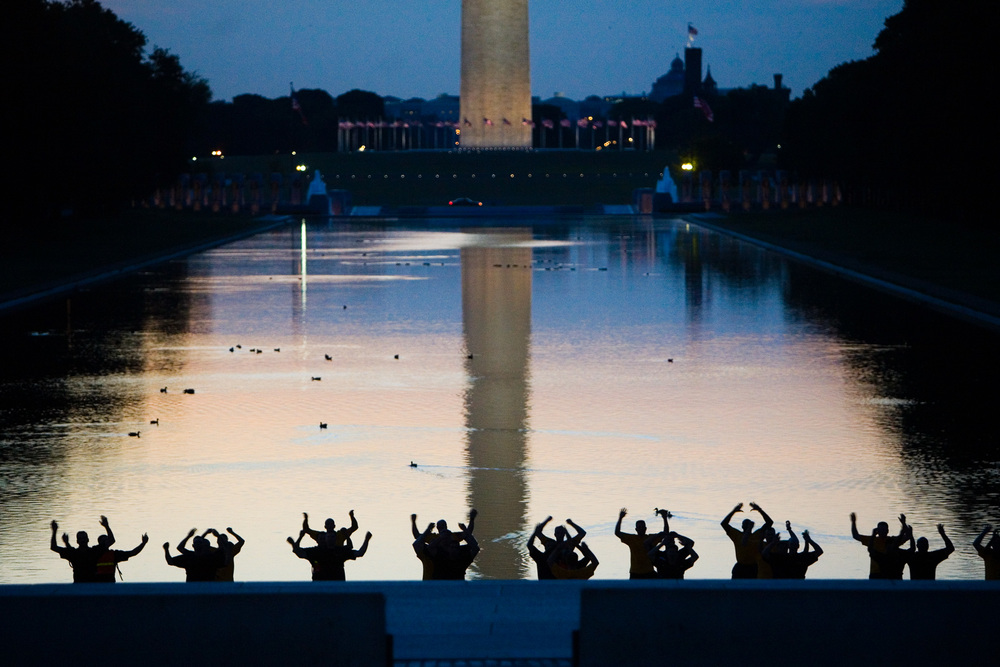 Exercising on the National Mall at the Reflecting Pool in Washington, DC.