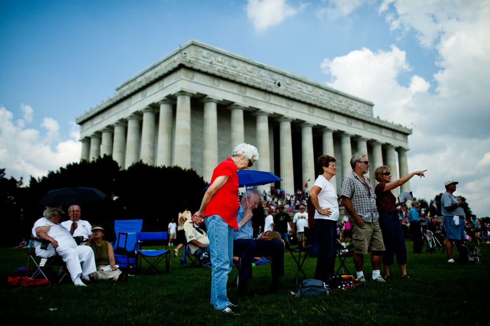 Audience members gather near the Lincoln Memorial during the 'Restoring Honor' event.