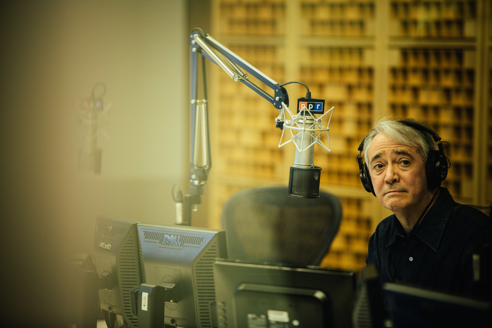 Weekend Edition Saturday Host Scott Simon records the first show in the new NPR headquarters in Washington, DC.
