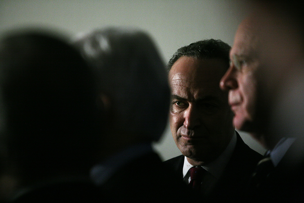 Senator Chuck Schumer after a Congressional Hearing.