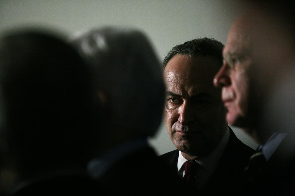 Senator Chuck Schumer after a Congressional Hearing.