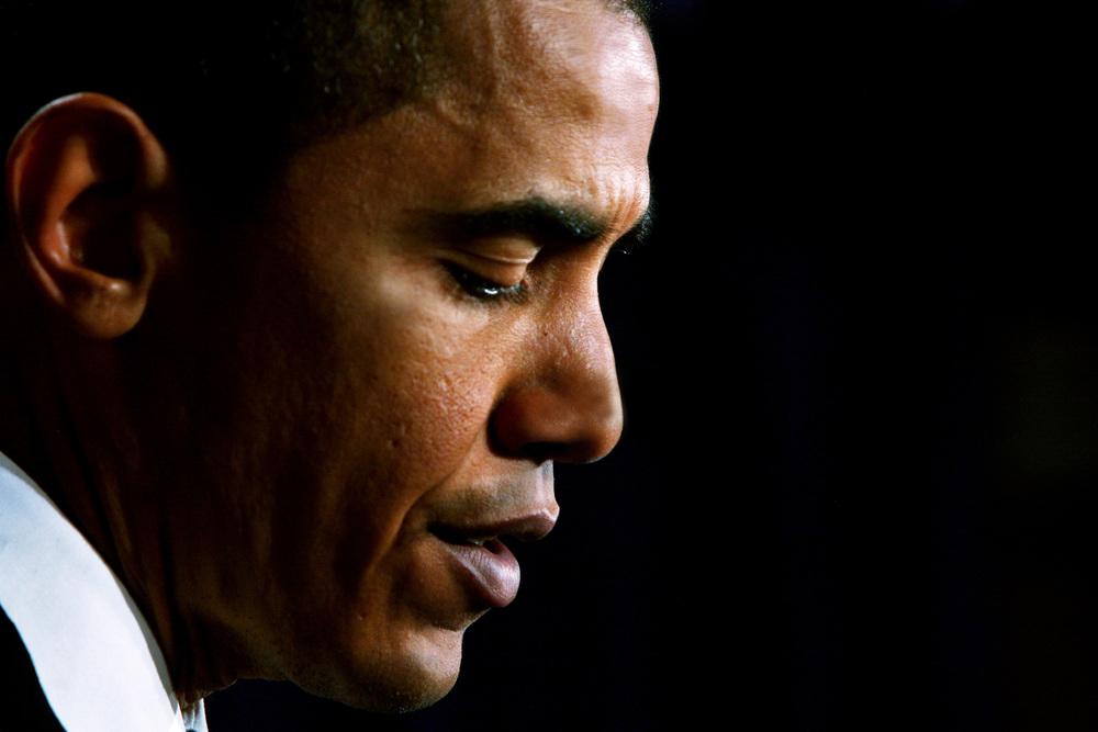 Then Senator Barack Obama speaks at a Democratic press conference on lobby reform in Washington DC.