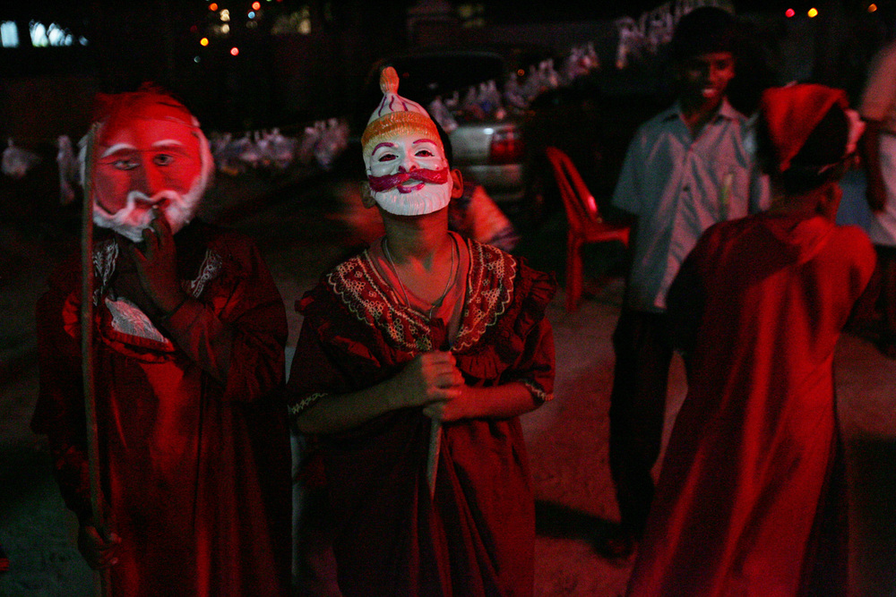 Boys dress up as Santa for Christmas in Kerala, India