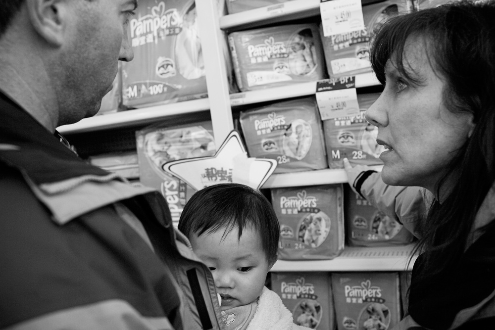 Karen and Bob shop for diapers at a Wal-Mart in Nanchang, China.