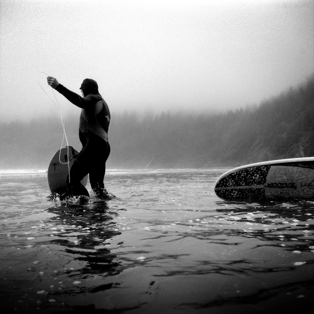 Winter surfing along the Oregon coast.