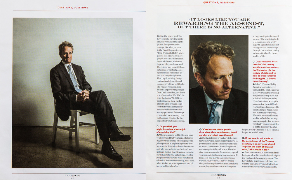 Timothy Geithner for WSJ Money Magazine