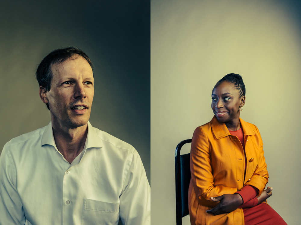 Square co-founder Jim McKelvey and author Chimamanda Ngozi Adichie at the Washington Ideas Forum.