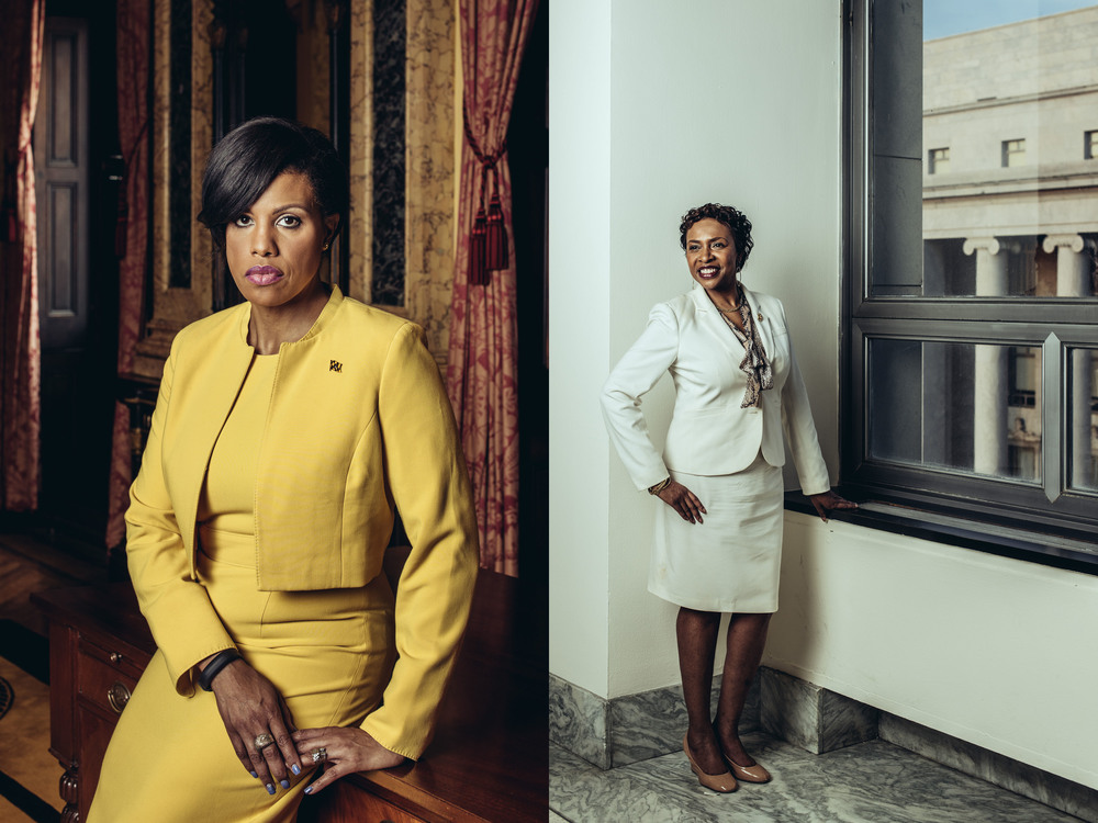 Baltimore Mayor Stephanie Rawlings-Blake and Congresswoman Yvette Clark, for the Wall Street Journal