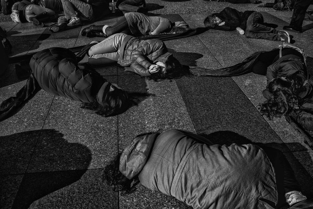 "Pro-life demonstrators stage a ""die-in"" in front of the White House prior to the March for Life, on January 27, 2017."