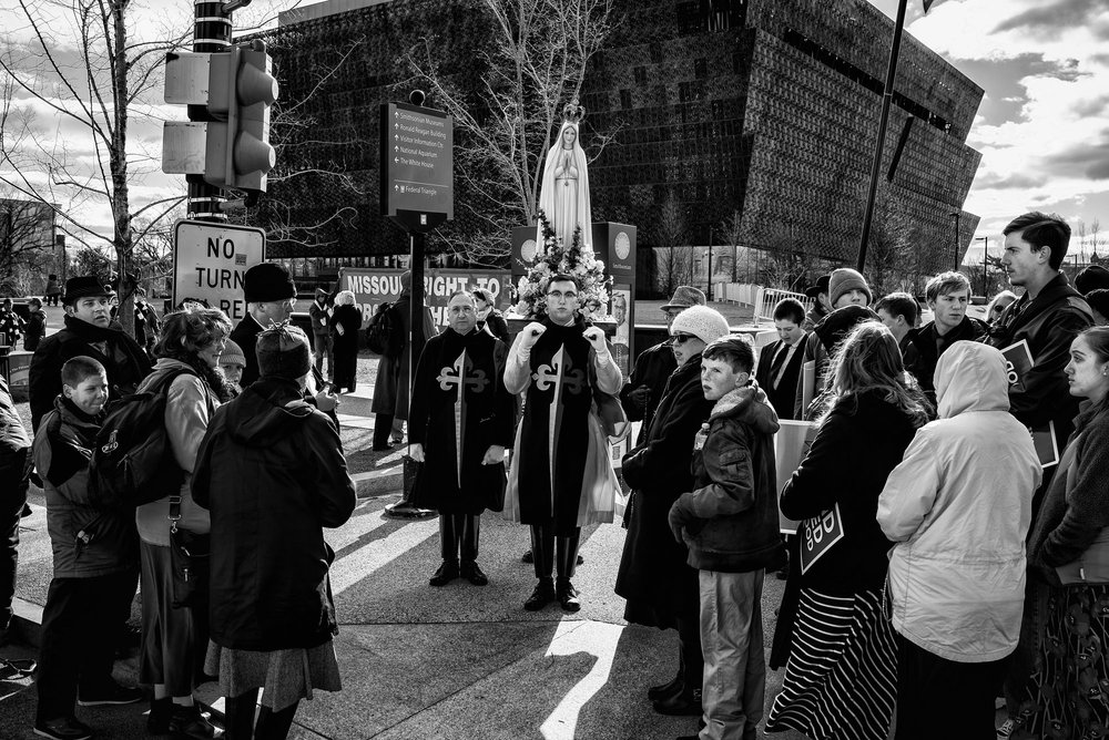 Demonstrators at the March for Life in Washington, DC, on March 27, 2017.