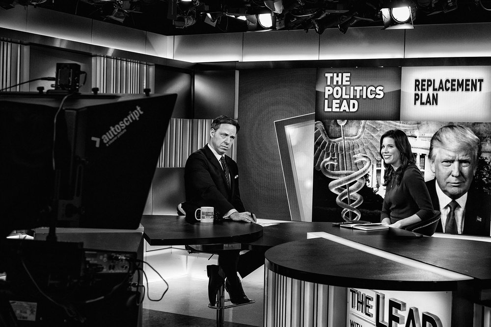 CNN Chief Washington Correspondent Jake Tapper on a commercial break during the taping of his weekday television news show, The Lead, on February 28, 2017.