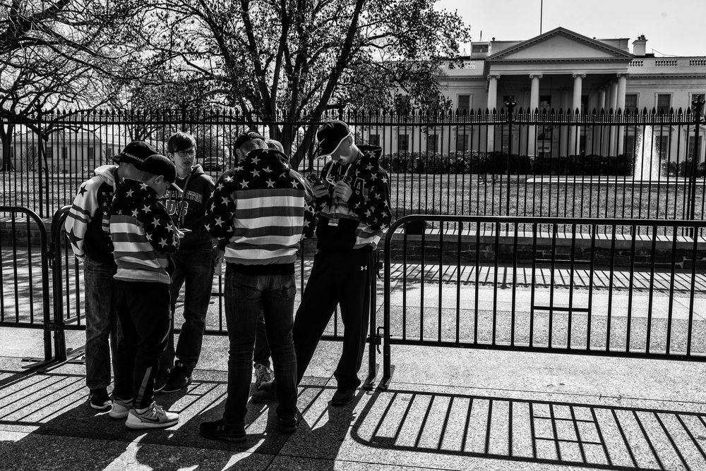 Tourists gathered outside the White House, on March 6, 2017.