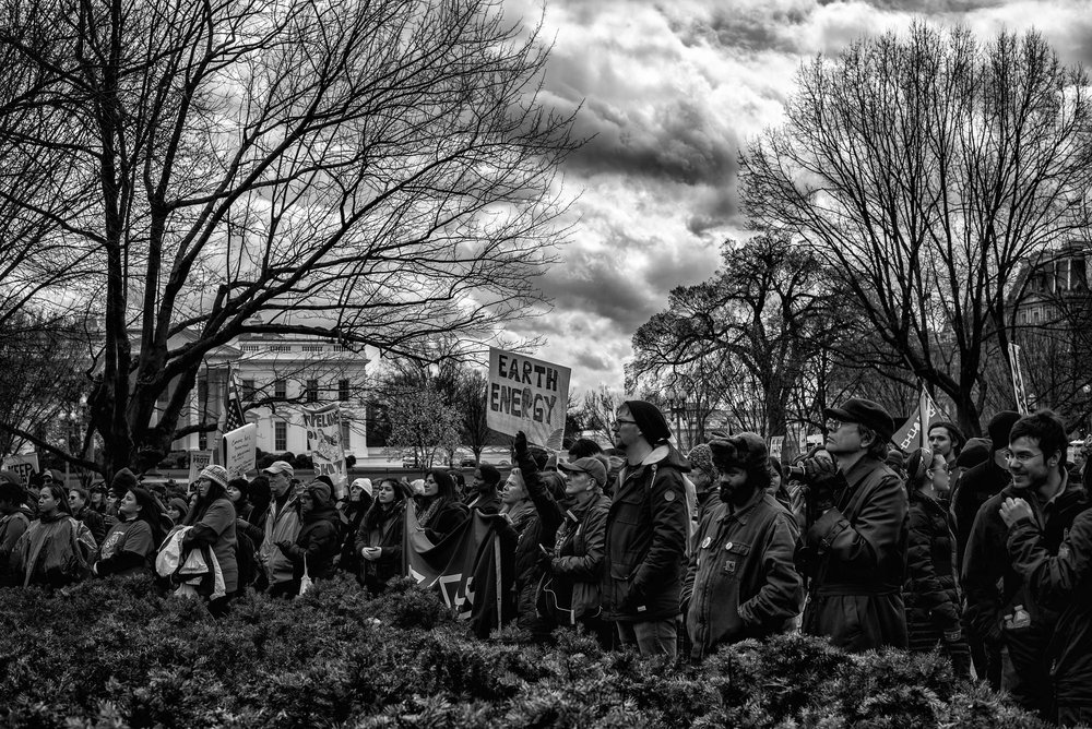 Protesters gather in Lafayette Park during the Nation Nations March on DC demonstration, on March 10, 2017.