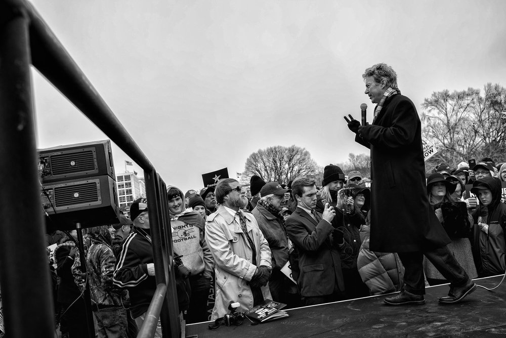 Senator Rand Paul speaks during a Freedom Works rally against the proposed GOP health care plan at Upper Senate Park across from the U.S. Capitol on March 15, 2017.