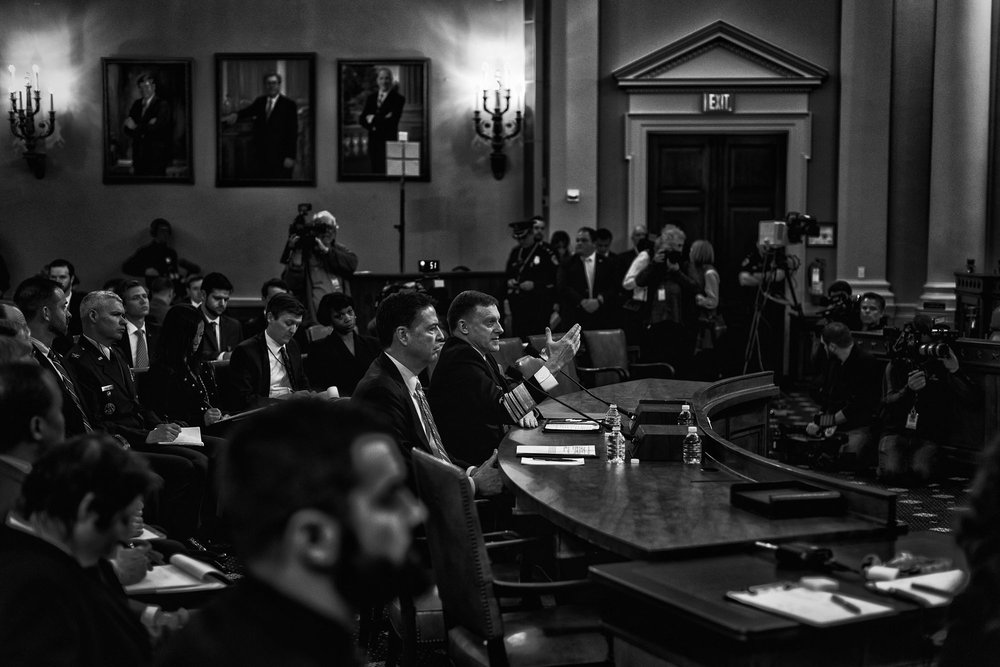 James Comey, Director of the Federal Bureau of Investigation, and Michael Rogers, Director of the National Security Agency, testify before a House Permanent Select Committee on Intelligence hearing concerning Russian interference in the 2016 United States election, on March 20, 2017.