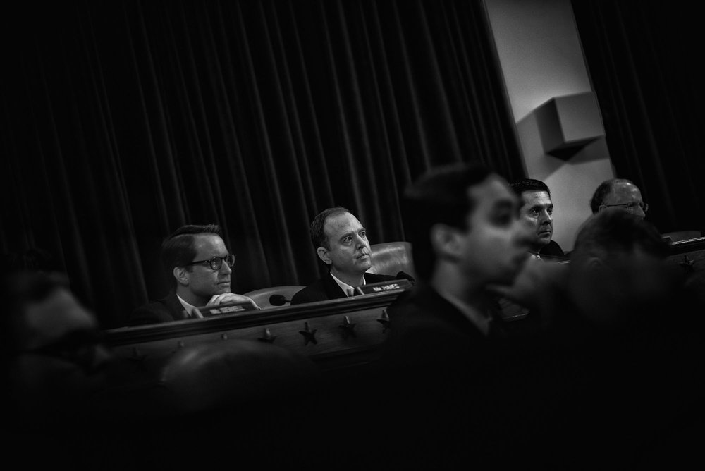 Representative Adam Schiff listens to testimony during a House Permanent Select Committee on Intelligence hearing concerning Russian interference in the 2016 United States election, on March 20, 2017.