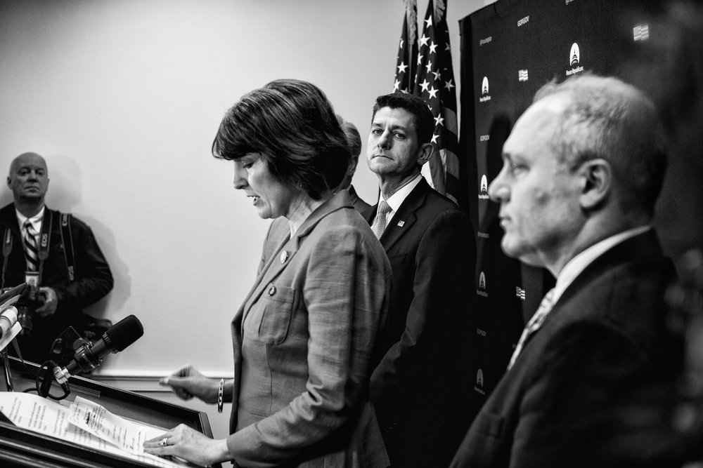 House Speaker Paul Ryan and House Majority Whip Steve Scalise listen to House Republican Conference Chairman Cathy McMorris Rodgers speak to the media during a briefing after attending a closed House Republican conference on March 28, 2017.