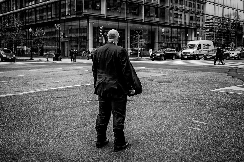Day 9 : A man in downtown Washington, DC on January 28, 2017.
