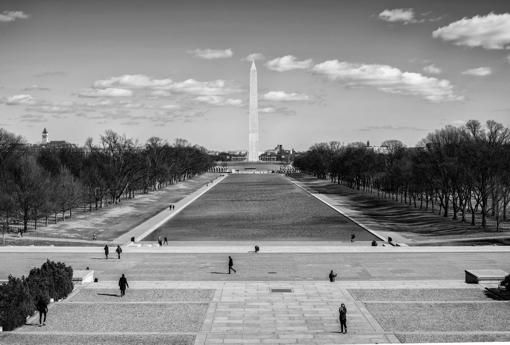 Day 25 : A view of the Reflecting Pool and Washington Monument from the Lincoln Memorial on February 13, 2017.