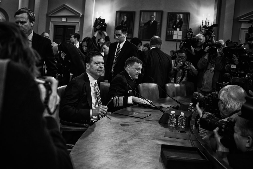 Day 60 : James Comey, Director of the Federal Bureau of Investigation, and Michael Rogers, Director of the National Security Agency, arrive before a House Permanent Select Committee on Intelligence hearing concerning Russian interference in the 2016 United States election, on March 20, 2017.