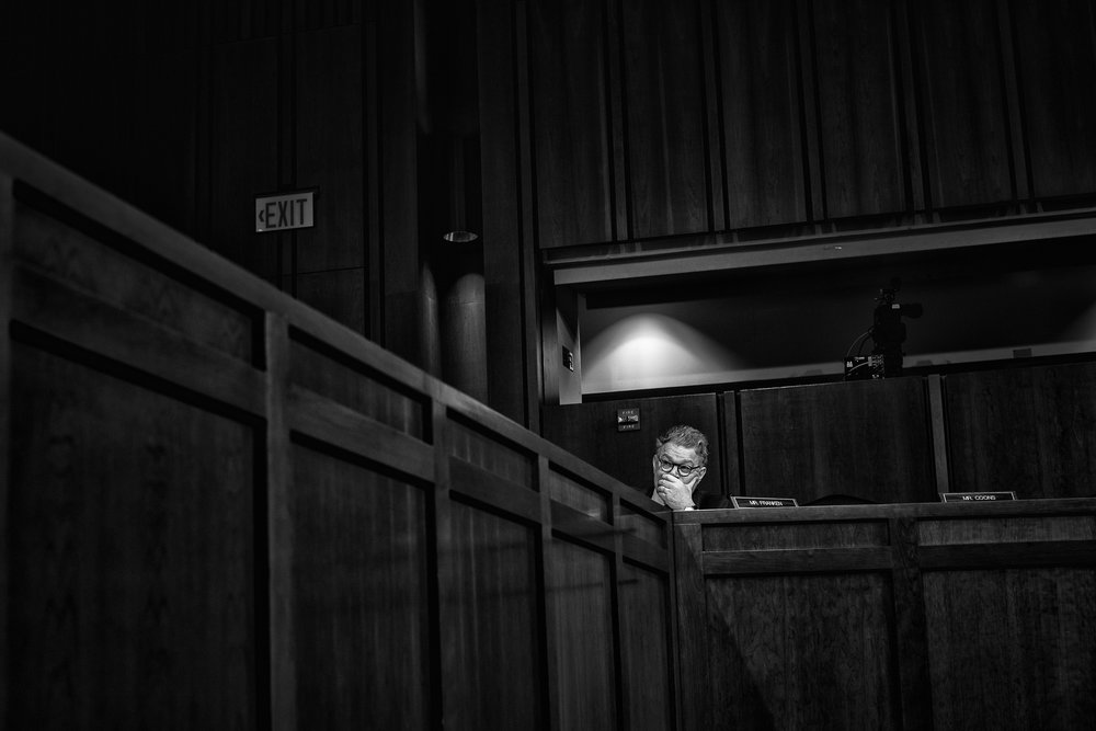 Day 61 : Senator Al Franken listens to the testimony of Judge Neil Gorsuch during the second day of his Supreme Court confirmation hearing before the Senate Judiciary Committee on March 21, 2017.