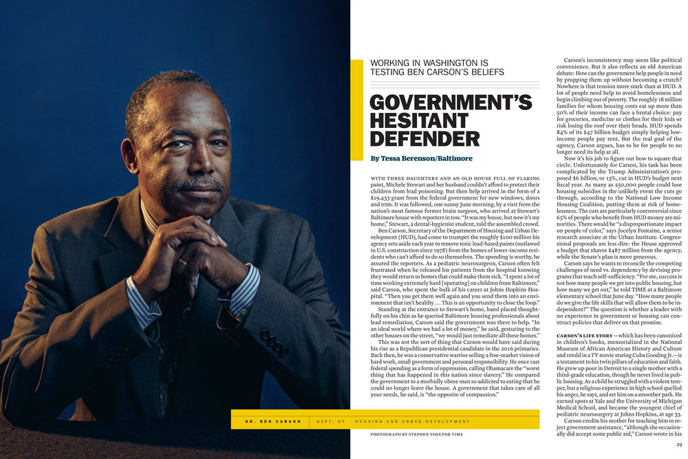 HUD Secretary Ben Carson for Time Magazine