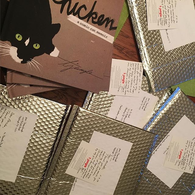 Look out, #GoodReads winners, these copies of Chicken along with bonus postcards are coming your way soon! Thanks for participating! #chickenthebook #contest #winners
