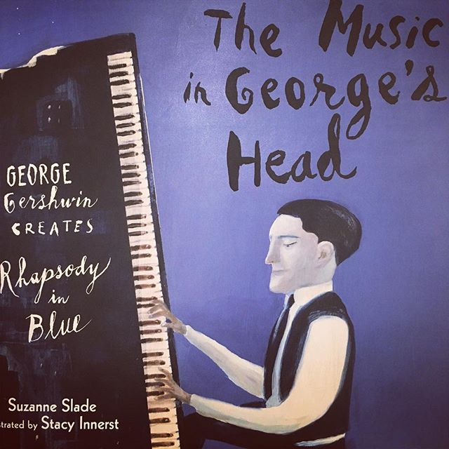 Loving this picture book account of the life of #GeorgeGershwin and its gorgeous #illustrations and #handlettering by Stacy Innerst #stacyInnerst #chickenthebook #chickenthecat #CalkinsCreek publisher #picture book