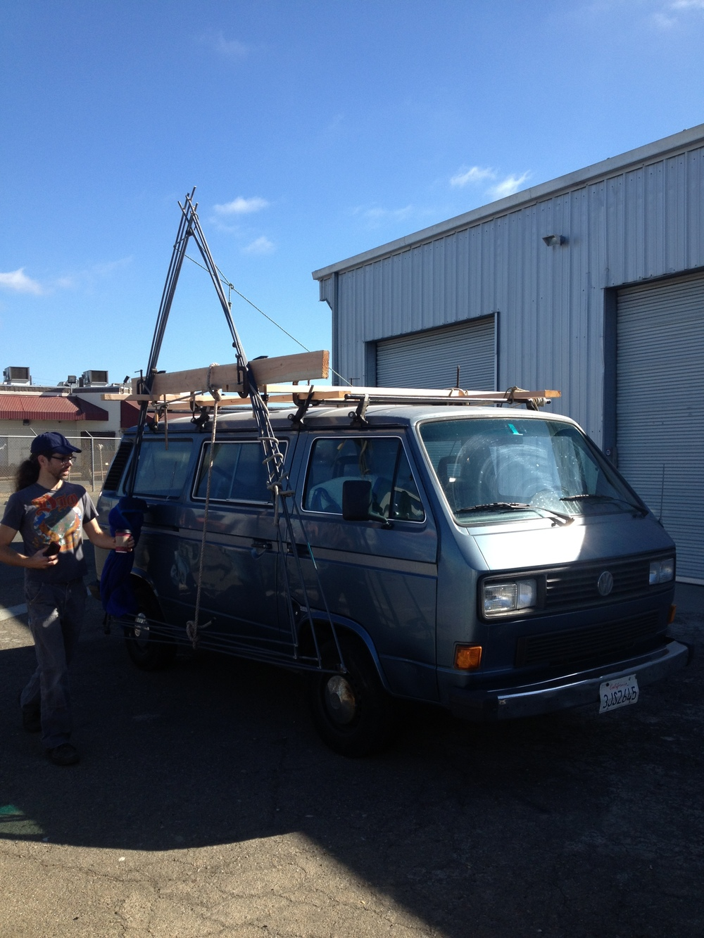 Holden Crane's rig to transport the Nest frame.