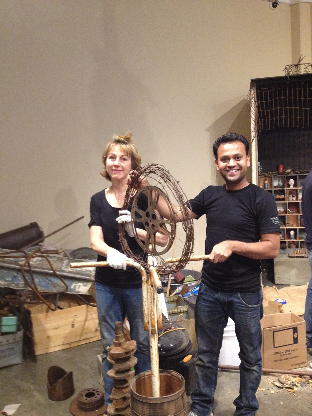MaryLee and Suhas having good times with junk!