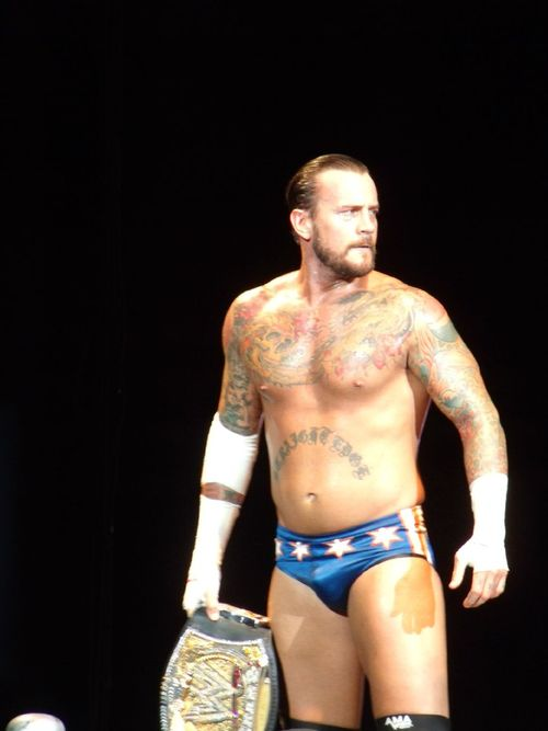 CM Punk in Chicago-themed spandex.