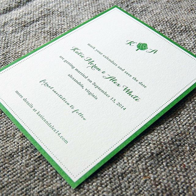 A little green letterpress save the date from a few years ago ☘️☘️☘️ Love when clients are up for using fun colors 🙌🏻 #customweddinginvitation #letterpress #letterpressweddinginvitations #greenweddinginvitation #custommonogram #newenglandwedding #virginiawedding
