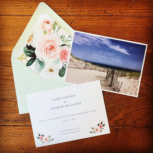 Save the date design for what will be a beautiful cape cod wedding next year! Looking forward to working on the wedding invitations in the coming months @maregann 🙌🏻💍🌷 #wychmerebeachclub #newenglandwedding #capecodwedding #customsavethedates #customweddinginvitations