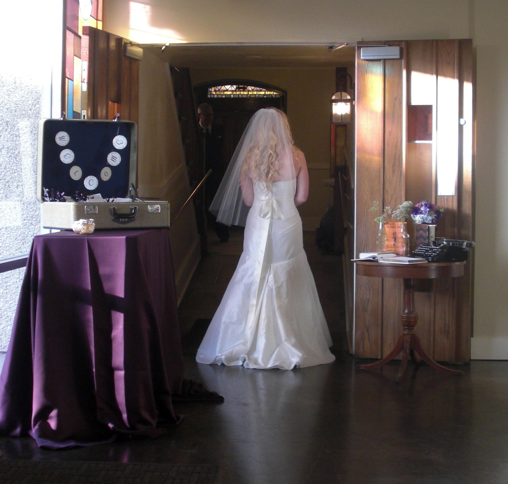 A beautiful bride, about to walk down the aisle.  Photo by Lesley Pollack, Events on 6th