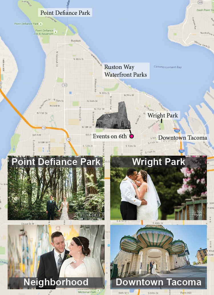 Some great options for outdoor photos near Events on 6th.  Photos by (clockwise from TL): Jessica Uhler Photography, Van Whye Photography, Lavender Bouquet Photography, See Yourself Photography