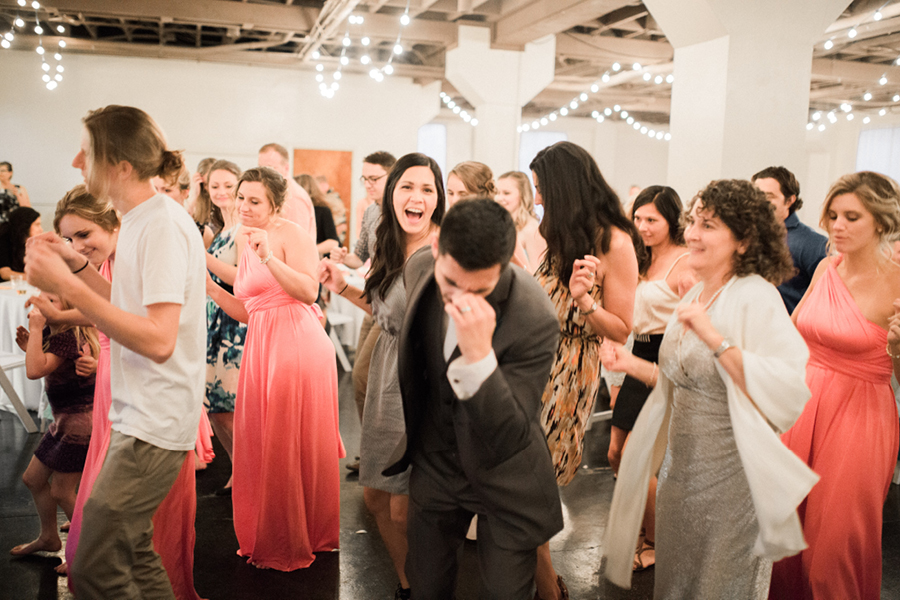 Wedding reception, groom dancing, wedding party dance, Events on 6th, Photo by Jessie Hart Photography