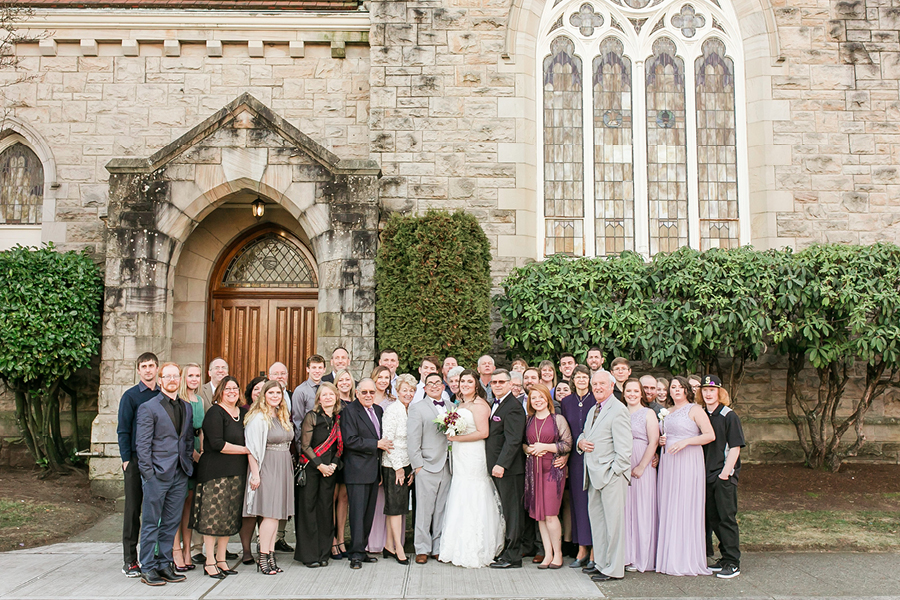 Family wedding portrait, family reunion, stone church building, Events on 6th, Photo by Lloyd Photography