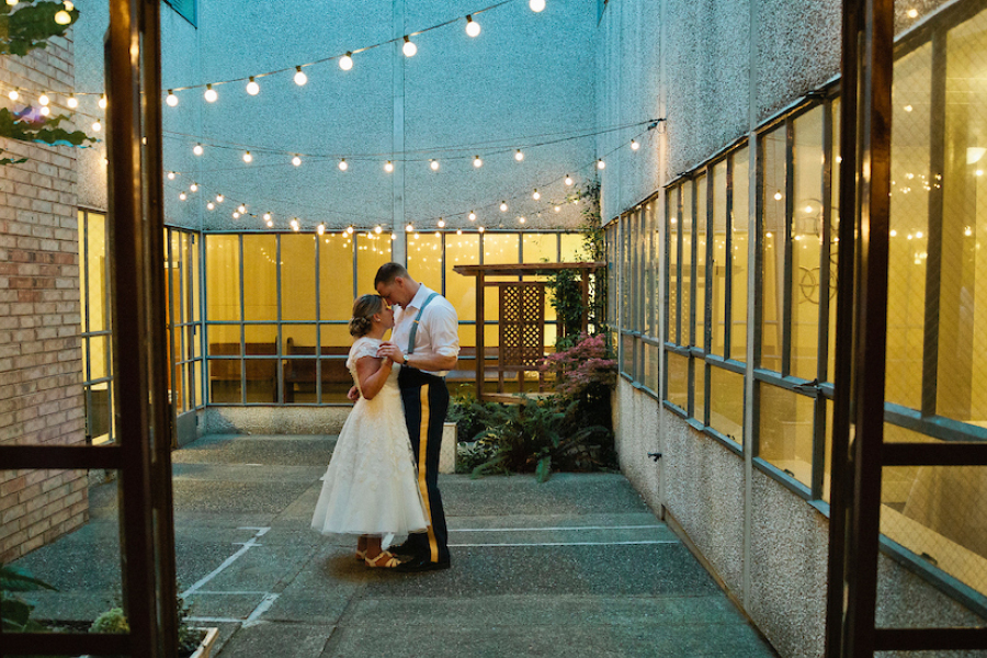 Bride and Groom dancing, evening wedding, garden wedding, Puyallup wedding venue, Events on 6th, Photo by Lisa Monet