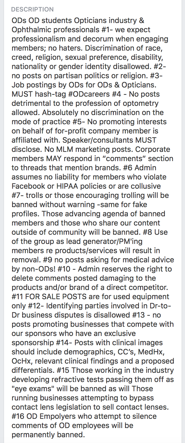 The strict guidelines that help to foster the uniquyly productive and fun ODs on FB environment.