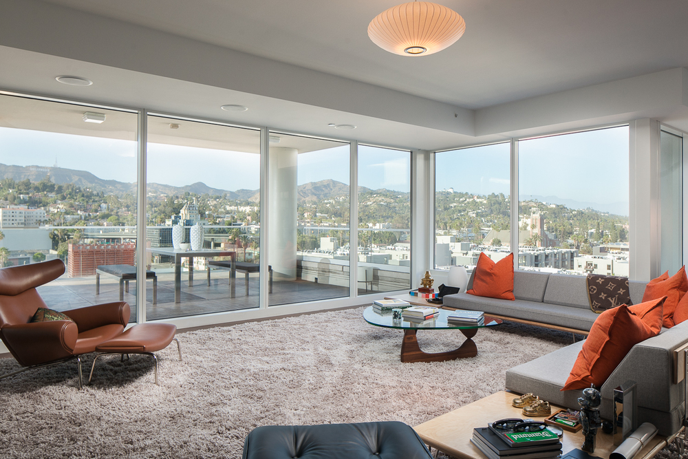 12th floor formal living room with a view of Hollywood.