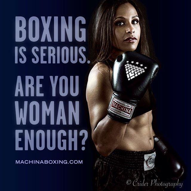 Machina Boxing is #seriousgear for serious women! Thank you to @kendralizz. #machinaboxing #spitfirebelchsmoke #carbonadogloves #womensboxing