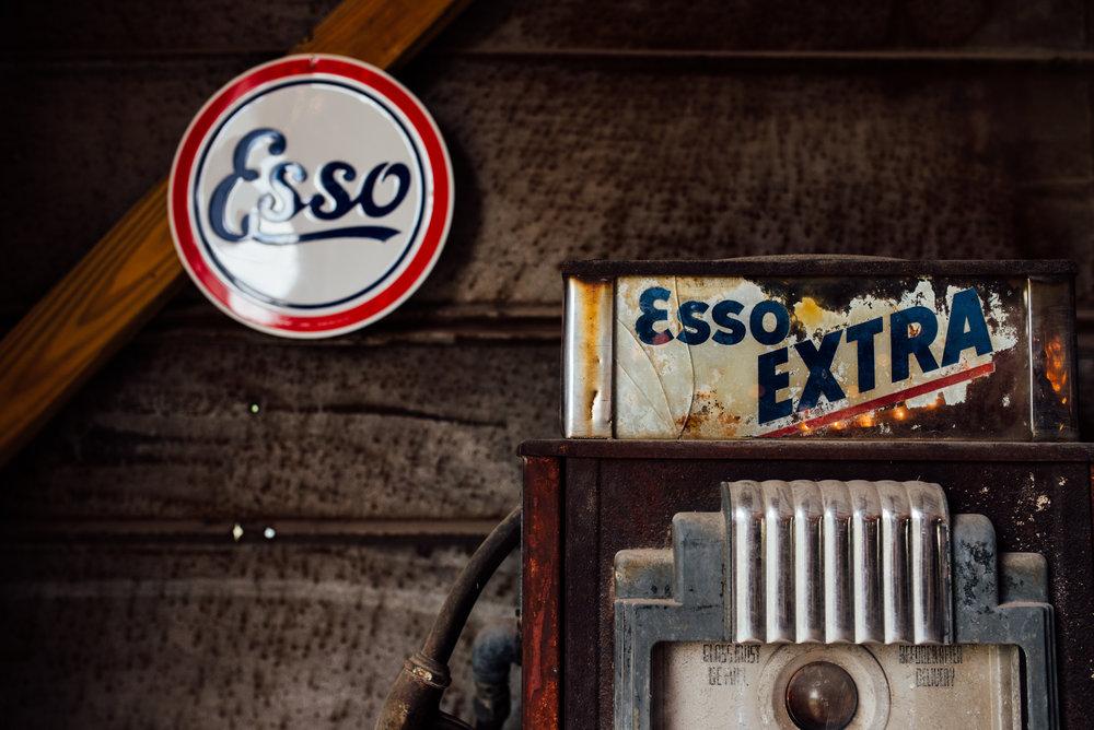 esso vintage gas pump barn wedding