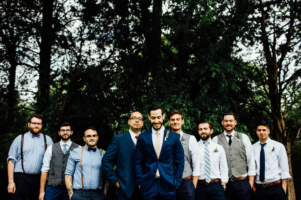 groomsmen in the forest