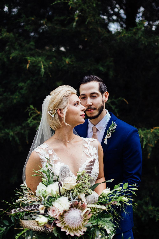 stylish bride and groom portraits