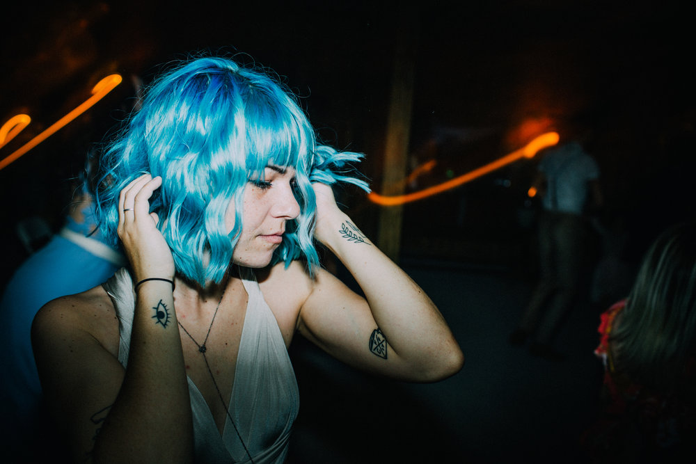 blue hair dancing bridesmaid wedding reception