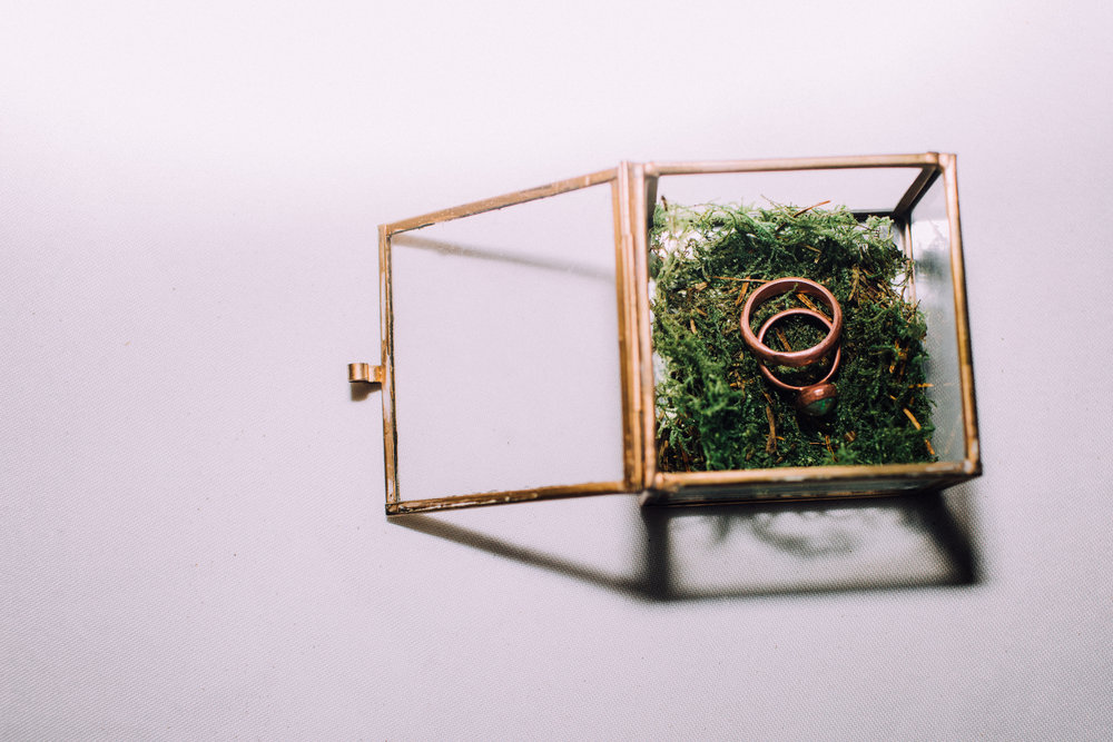 copper wedding rings custom made moss glass box