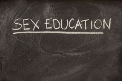 "The words ""sex education"" written on a chalkboard"