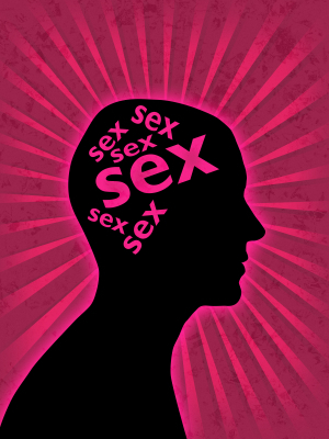 """Silhouette of a head with the word """"sex"""" written in the location of the brain several times"""