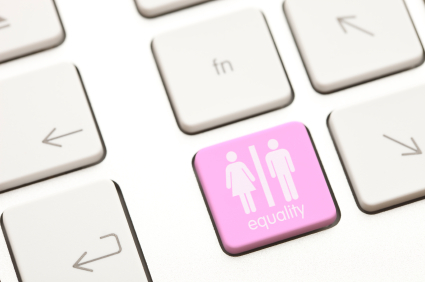Computer keyboard with button depicting gender equality